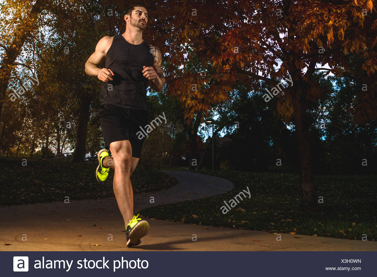 USA, Colorado, Broomfield County, Broomfield, Male athlete jogging - Stock Image