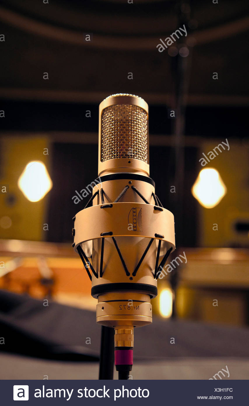 Studio, music, microphone, admission - Stock Image
