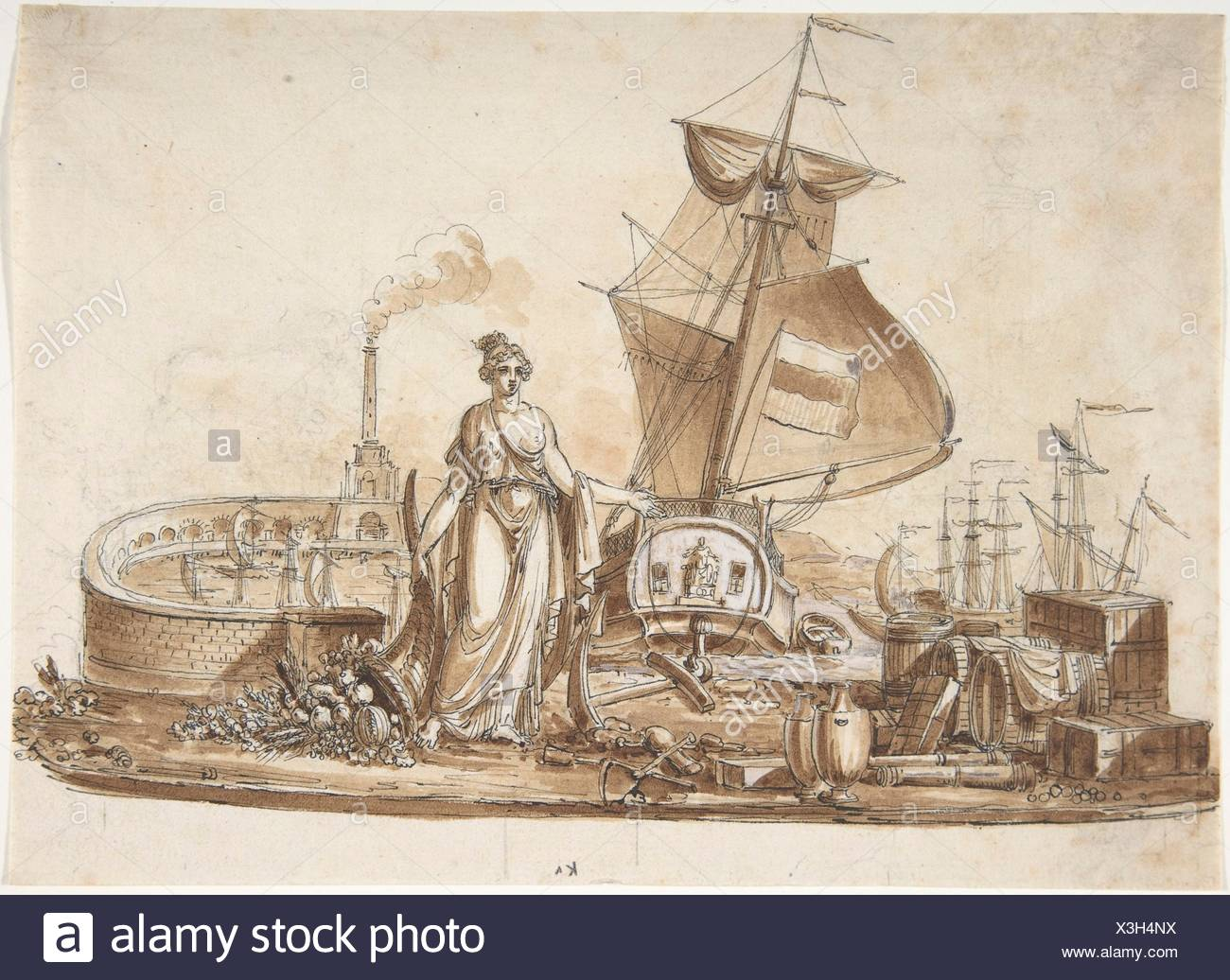 Allegory of Shipping. Artist: Charles Percier (French, Paris 1764-1838 Paris); Medium: Pen and black ink with brush and brown wash with white - Stock Image