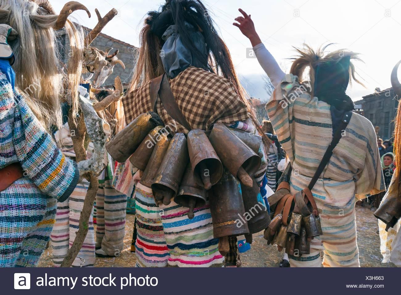 'Los Cucurrumachos'', scary looking evil carnival characters Navalosa, Avila Province, Castile-León, Spain - Stock Image
