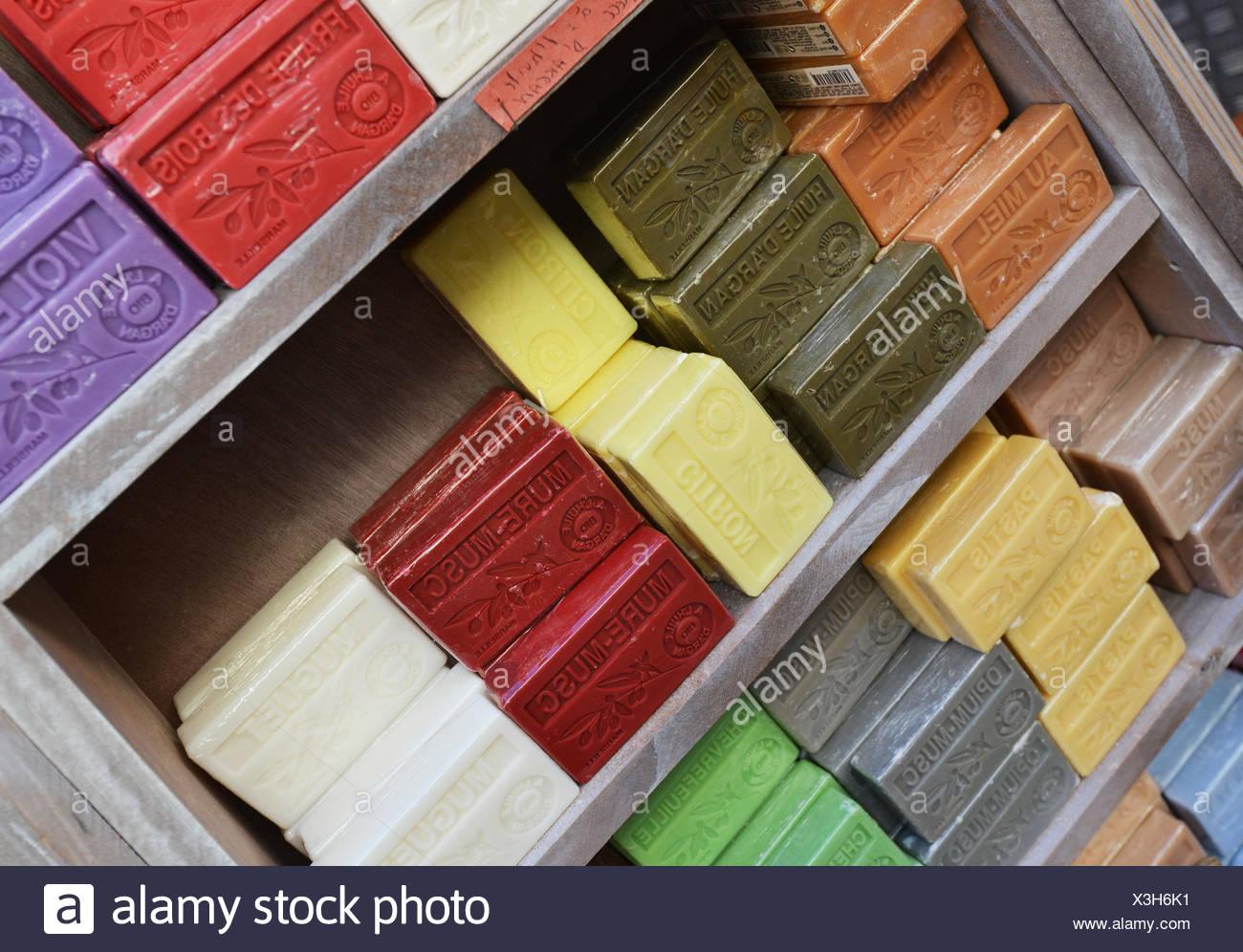 Soap on rack Stock Photo