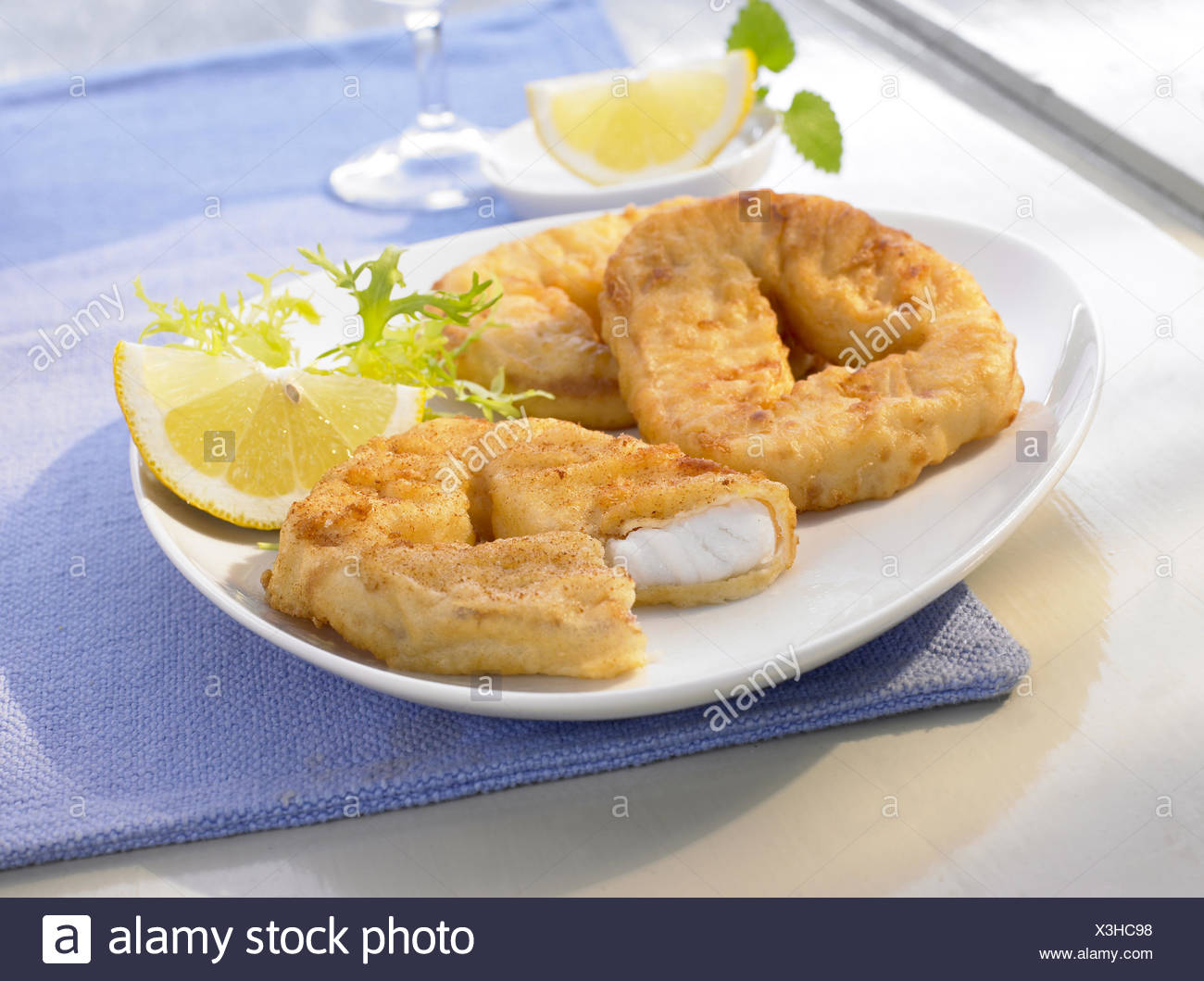 Breaded Fish Rings - Stock Image