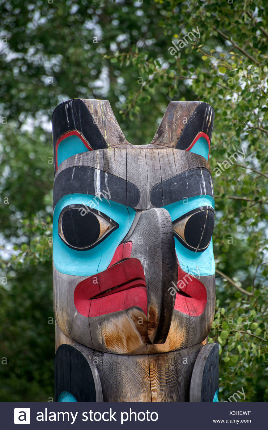 first nations totem, teslin, bc, Canada, totem, pole, British Columbia, Indian - Stock Image