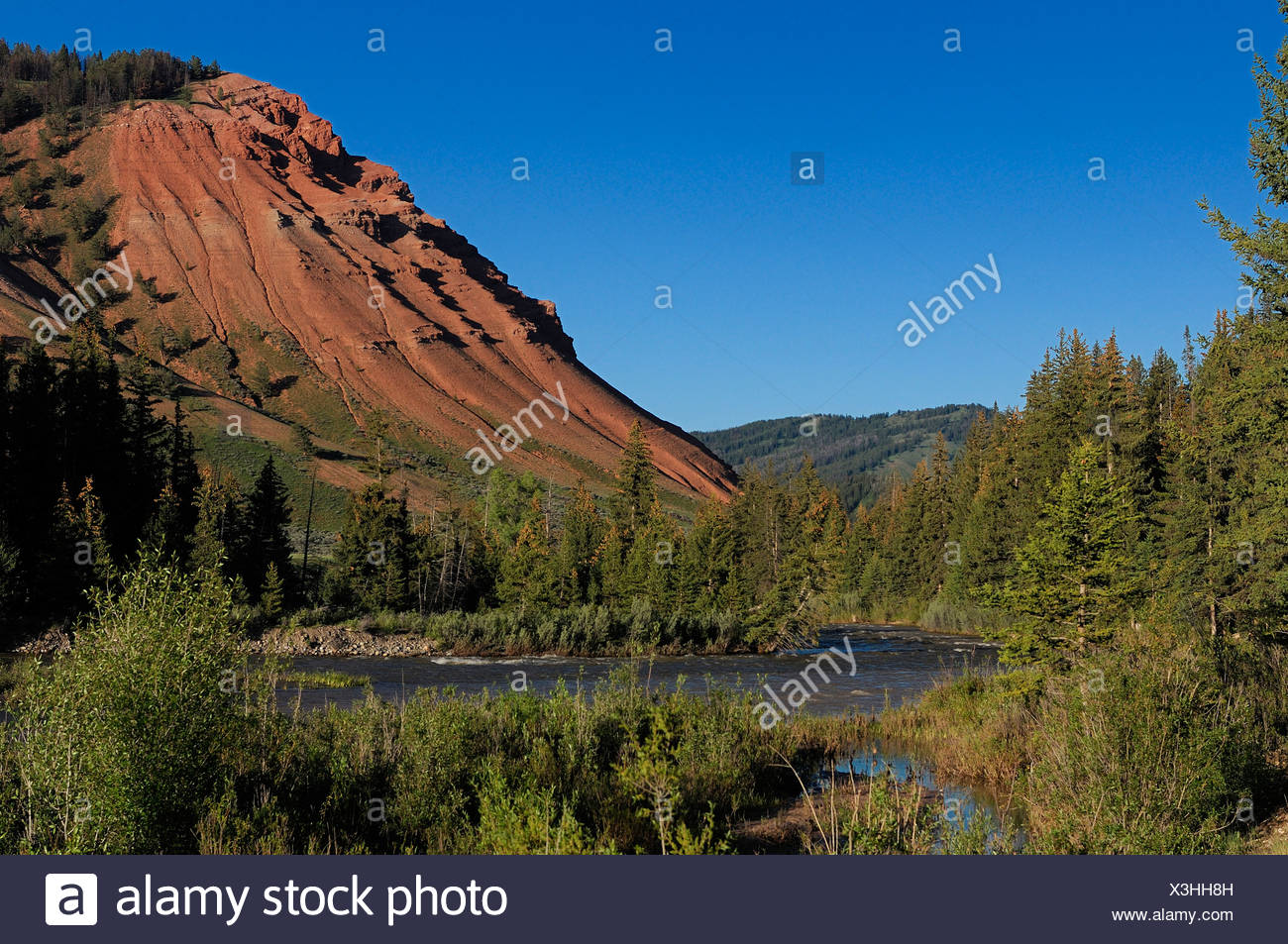 Crystal Creek river hills Gros Ventre Road Kelly Wyoming USA - Stock Image