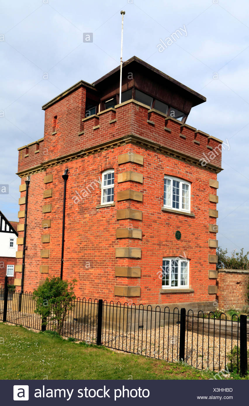 Former coastguard lookout tower and Marconi wartime listening post, on coastal clifftop, Hunstanton Norfolk UK, instrumental in plotting positionn of  - Stock Image