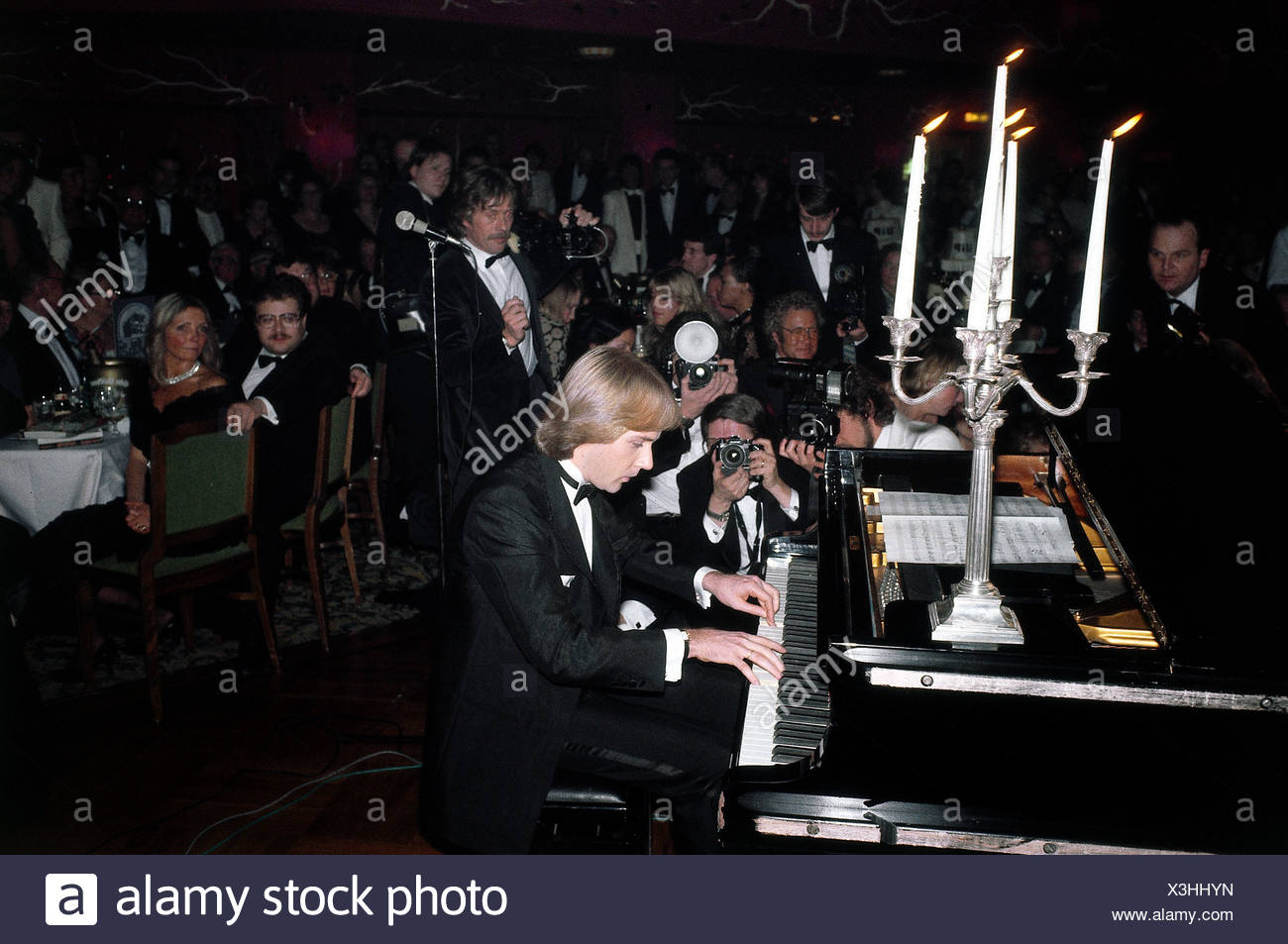 Claydermann, Richard, * 28.12.1953, French pianist, half length, performing, 1983, grand piano, playing, musician, concert, film - Stock Image