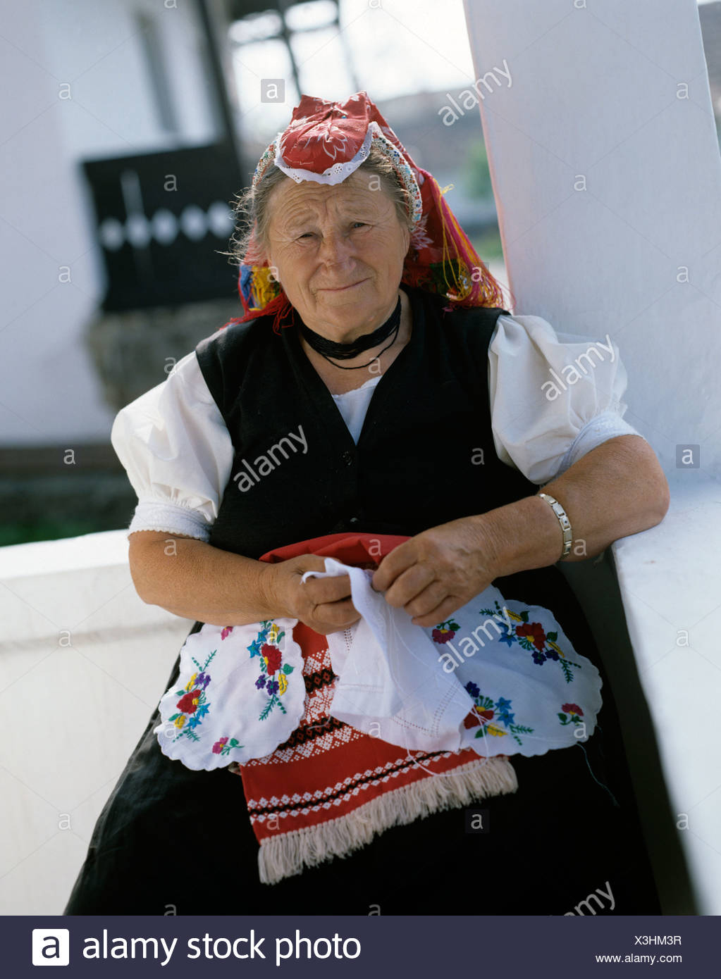 Hungary  Old lady outdoors in traditional costume Stock