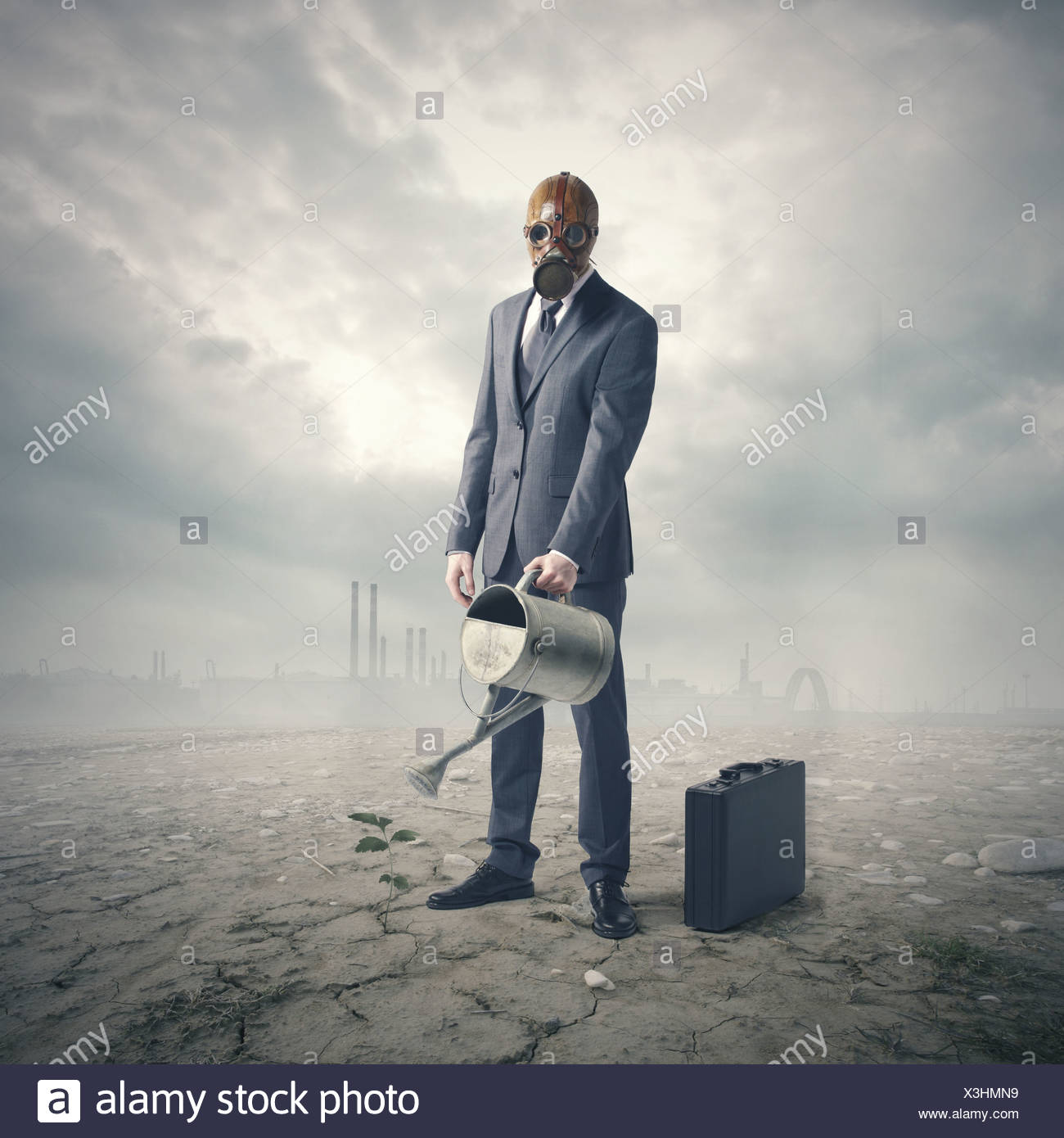 environment concept: businessman watering a lone plant in a barren desert. - Stock Image
