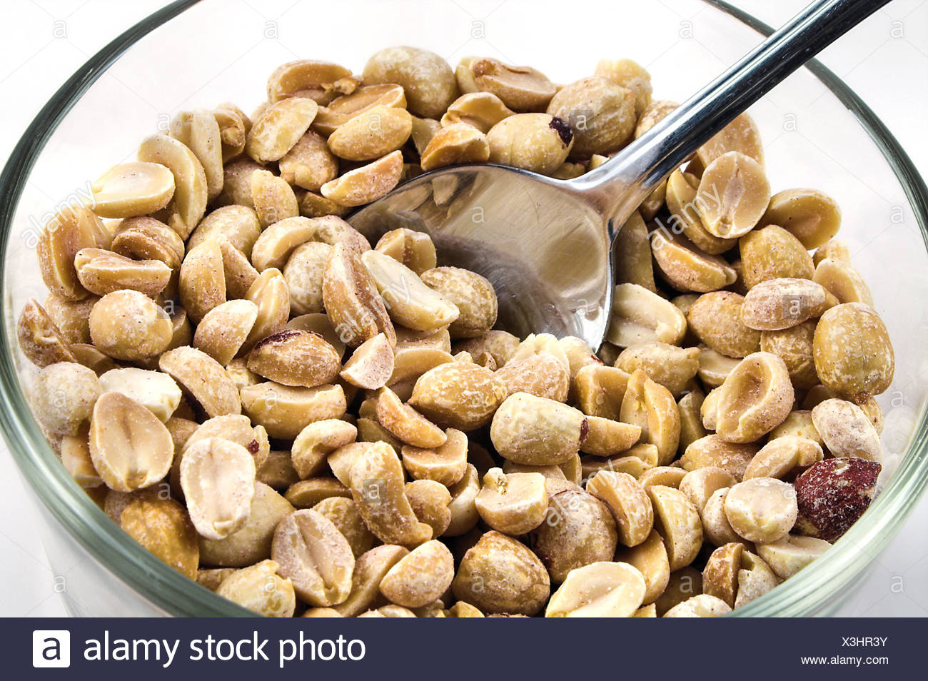 food aliment peanuts peanut dry dried up barren nutrition spoon roasted parched Stock Photo