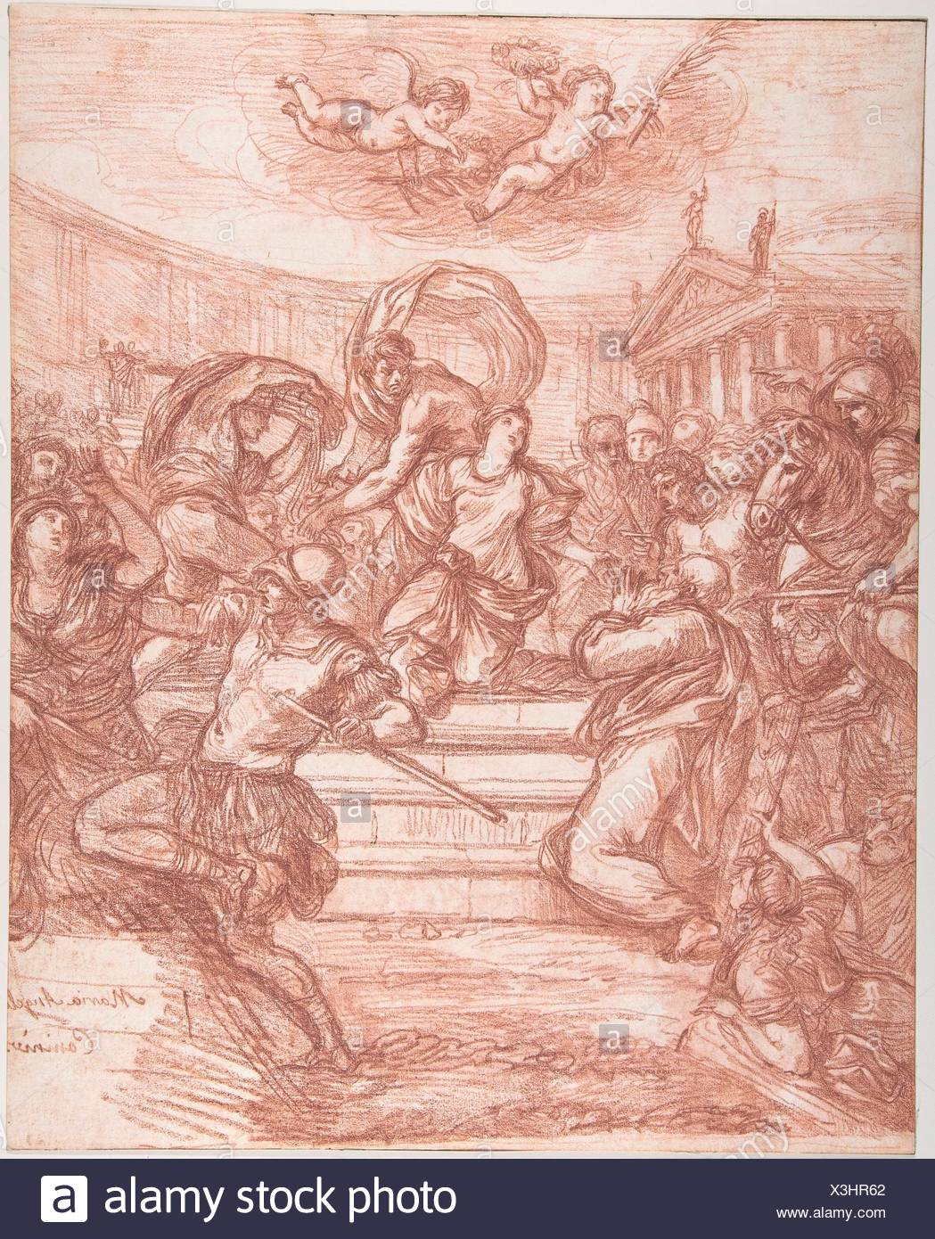 Scene of Martyrdom, after Giovanni Angelo Canini. Artist: Jean Robert Ango (French, active Rome, 1759-70, died after 1773); Medium: Red chalk, over - Stock Image