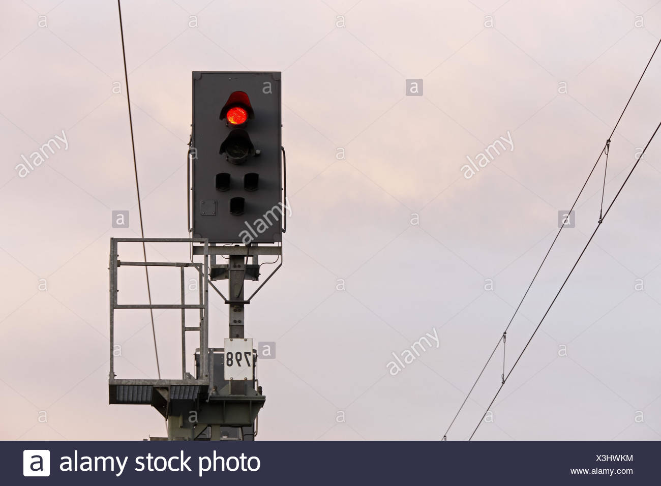 Rail line, light signal, - Stock Image