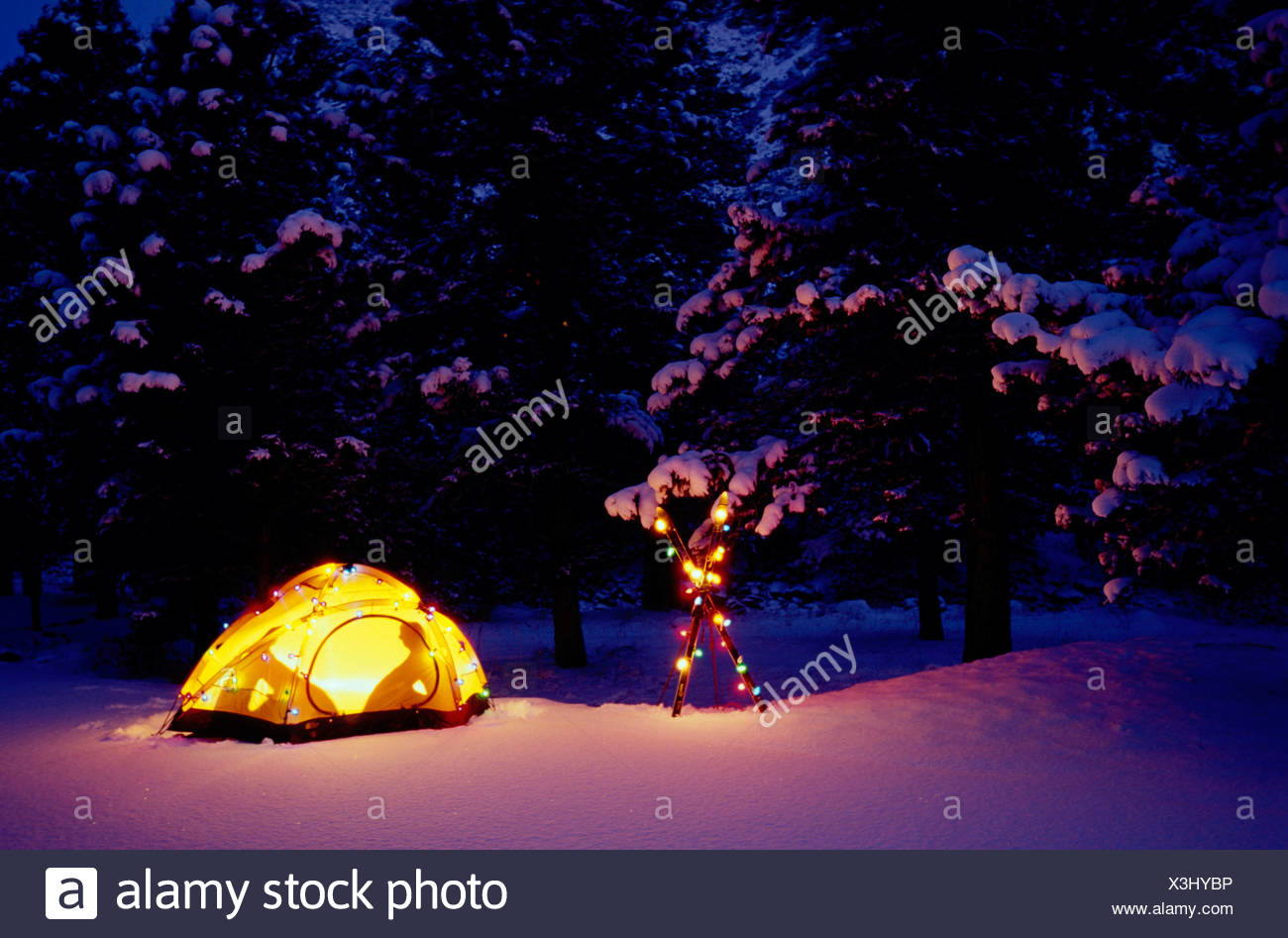 Christmas Lights For Camping.Winter Camping In Lit Tent W Christmas Lights Colorado