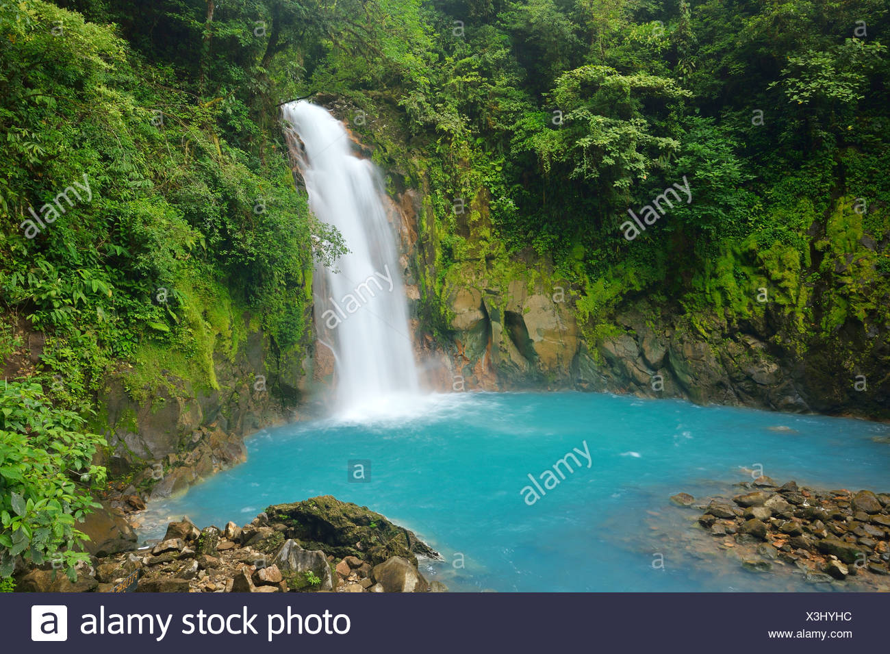 Waterfall at the light blue coloured river Rio Celeste, Tenorio Volcano National Park, Costa Rica, Central America - Stock Image