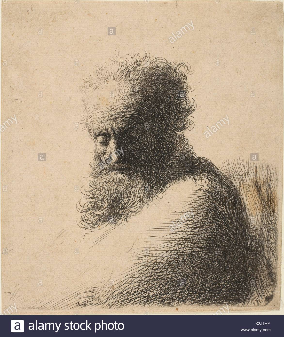 Bust Of An Old Bearded Man Looking Down Three Quarters Right Artist Rembrandt Rembrandt Van Rijn Dutch Leiden 1606 1669 Amsterdam Date Stock Photo Alamy