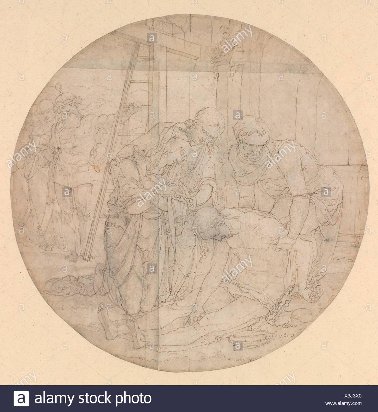 Christ at the Foot of the Cross, Mourned by Mary and John. Artist: Nikolaus Hogenberg (Netherlandish, Munich ca. 1500-1539 Mechelen); Artist: - Stock Image