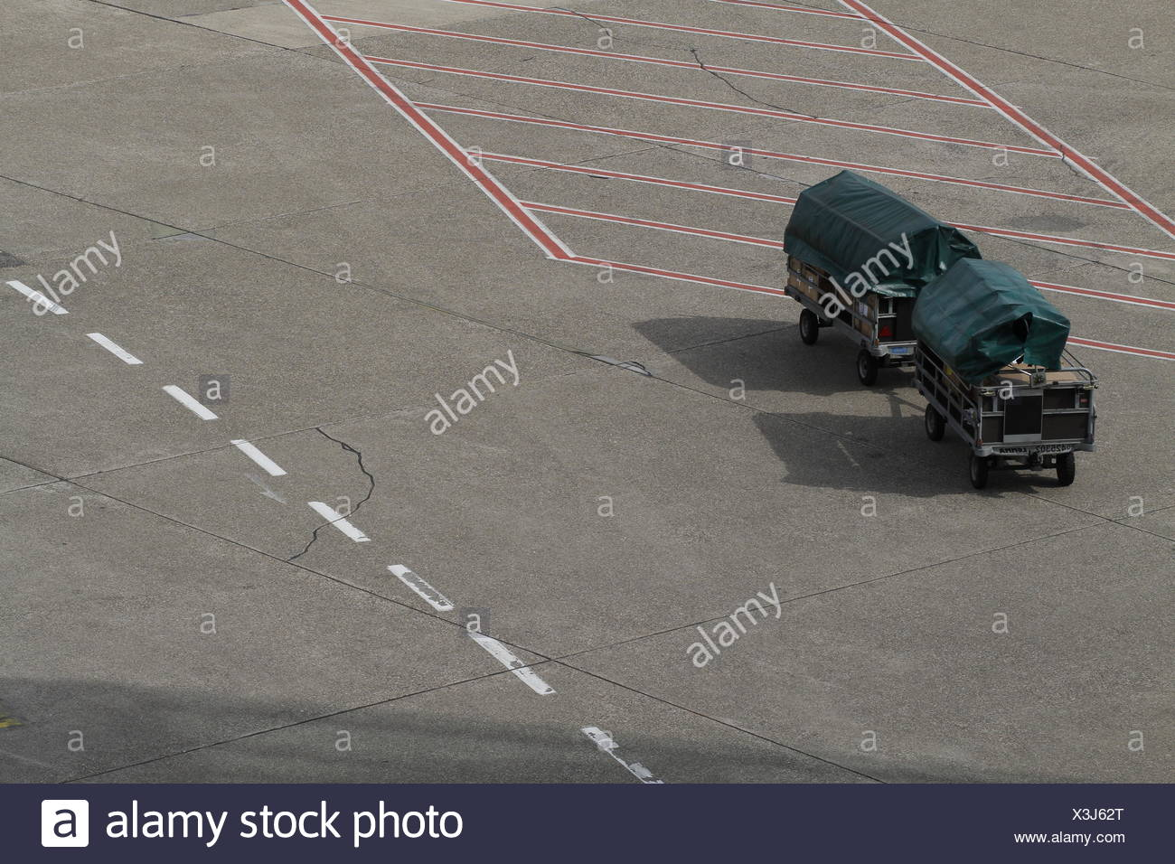 High Angle View Of Trailers In Parking Lot - Stock Image