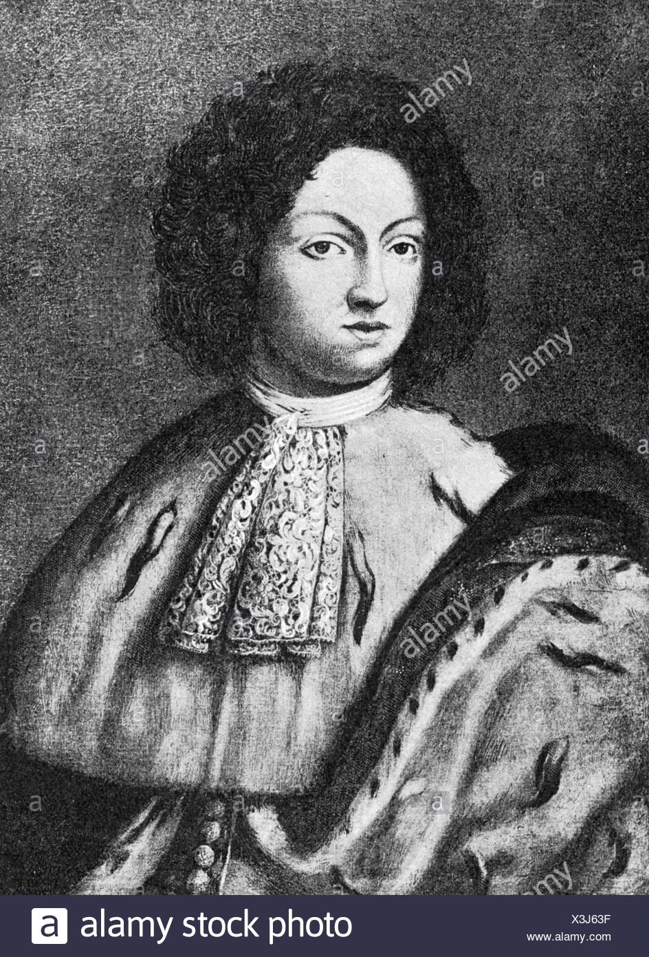 Charles XI, 24.11.1655 - 15.4.1697, King of Sweden 23.2.1660 - 15.4.1697, half length, mezzotint, 19th century, , Additional-Rights-Clearances-NA Stock Photo