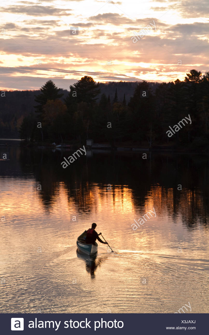 Young man paddles solo canoe on Oxtongue Lake, Muskoka, Ontario. - Stock Image