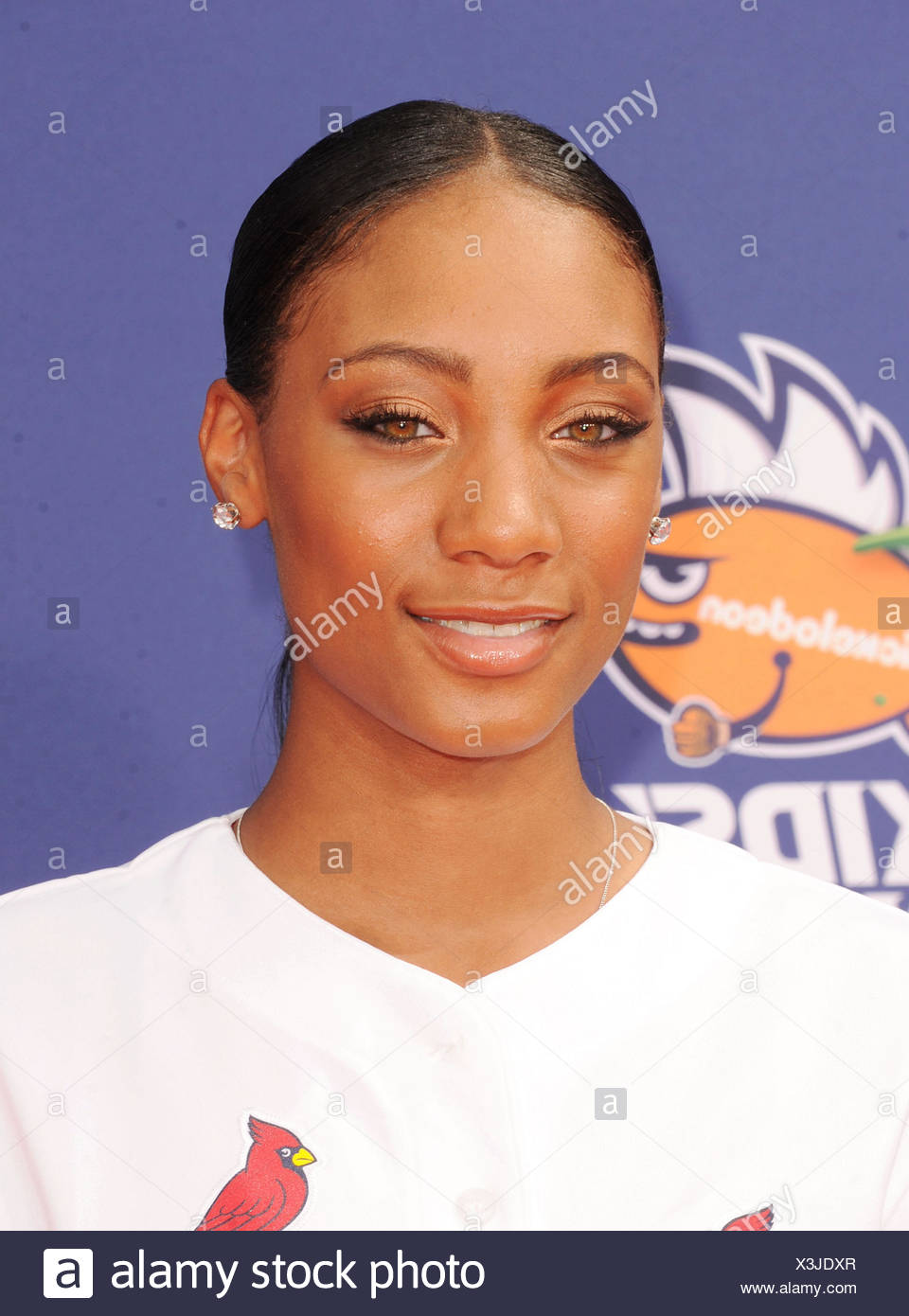 Baseball player Mo'ne Davis arrives at the Nickelodeon Kids' Choice Sports Awards 2015 at UCLA's Pauley Pavilion on July 16, 2015 in Westwood, California., Additional-Rights-Clearances-NA - Stock Image