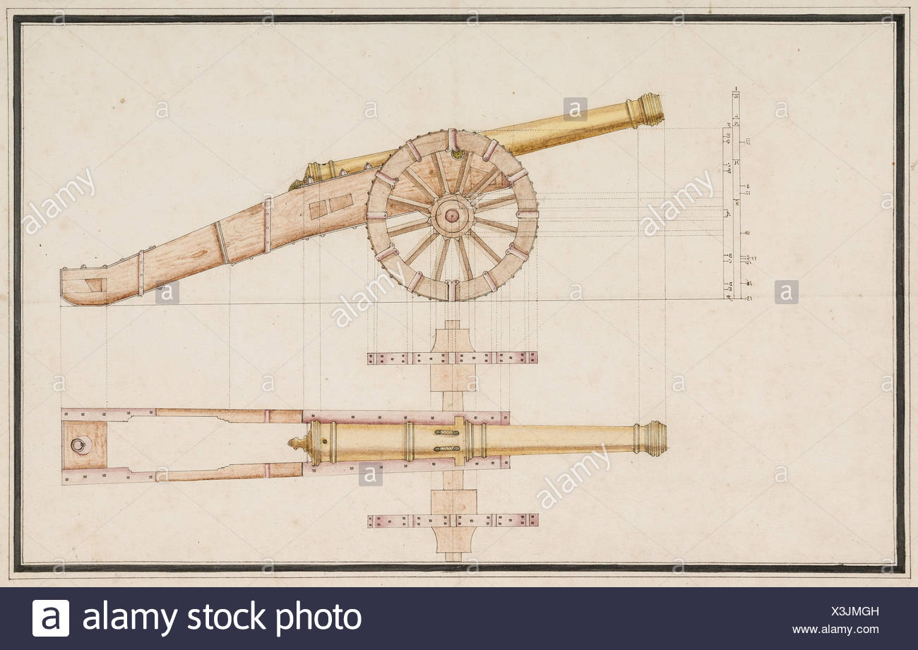 Construction Drawing of a Cannon. Date: 18th century; Culture: Western European; Medium: Pen and ink, wash and color on paper; Dimensions: 17 3/4 x - Stock Image