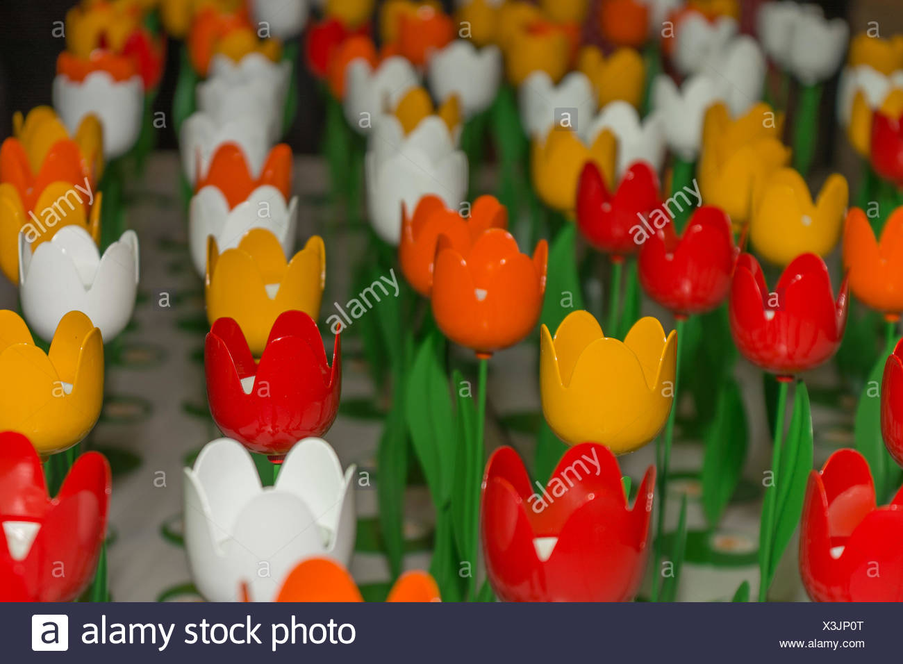 colorful tulips in metal - Stock Image