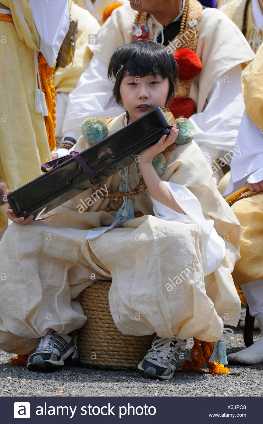 Yamabushi temple servant at the feat of the master of ceremonies, Kyoto, Japan, Asia - Stock Image