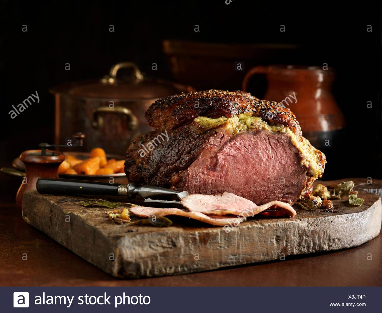 Carved fore rib of beef - Stock Image