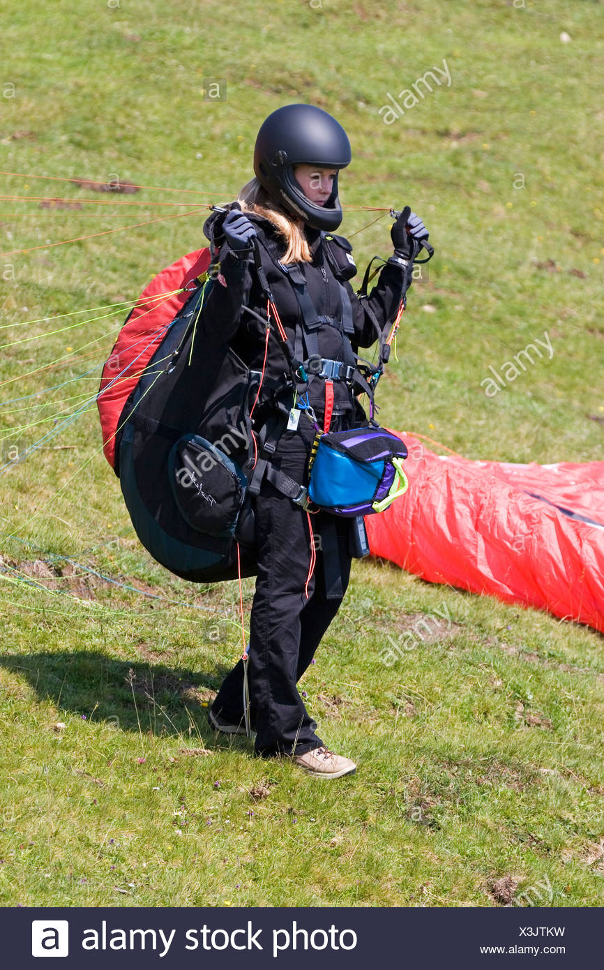 Paraglider preflight, Niederhorn, Bernese Oberland, Switzerland - Stock Image