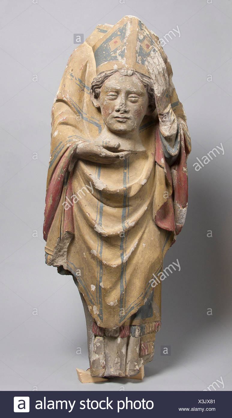 Saint Denis. Date: 14th century; Culture: French; Medium: Stone, paint; Dimensions: Overall: 24 1/2 x 10 1/8 x 5 1/2 in. (62.2 x 25.7 x 14 cm); Stock Photo