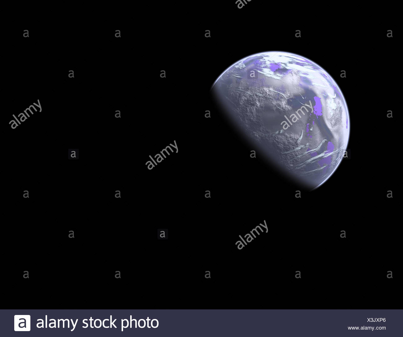 earthlike planet in space - Stock Image
