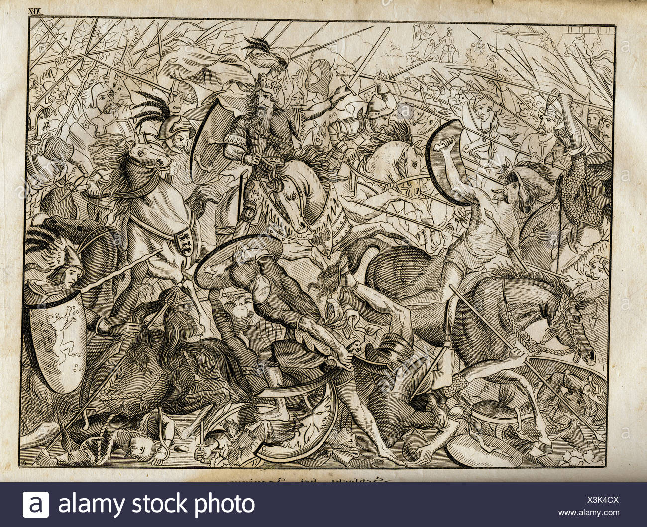"""middle ages, crusades, Third Crusade 1189 - 1192, """"Battle of Iconium"""",  18.5.1190, copper engraving by Joseph Fuchs, """"Vorzeit und Gegenwart"""",  Augsburg, 1832, ..."""