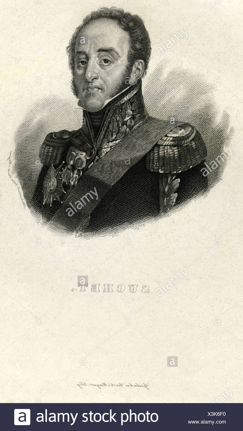 Suchet, Louis Gabriel, 2.3.1770 - 3.1.1826,  French General, portrait, steel engraving, France, 19th century, Artist's Copyright has not to be cleared - Stock Image