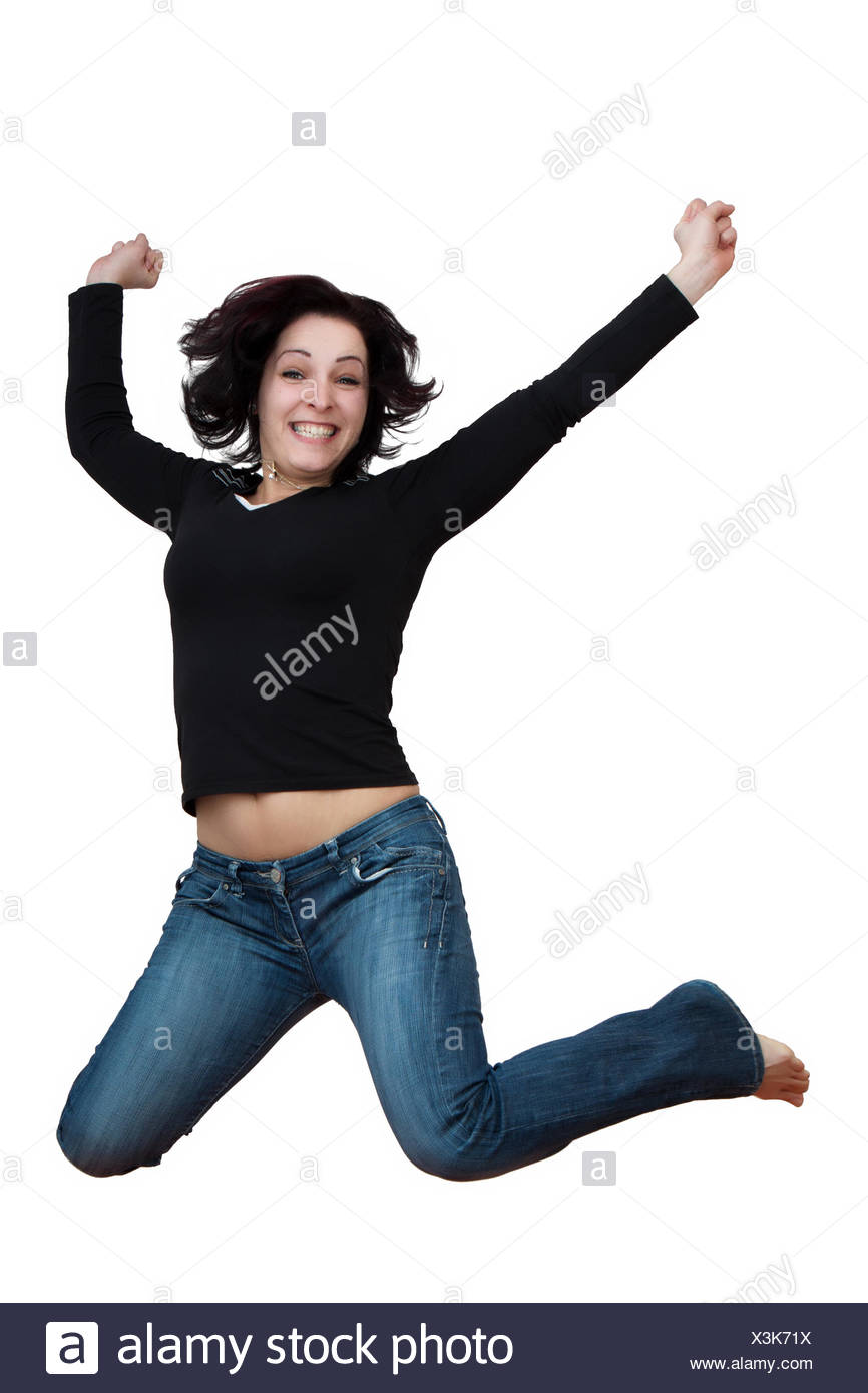 Woman leaping up - Stock Image