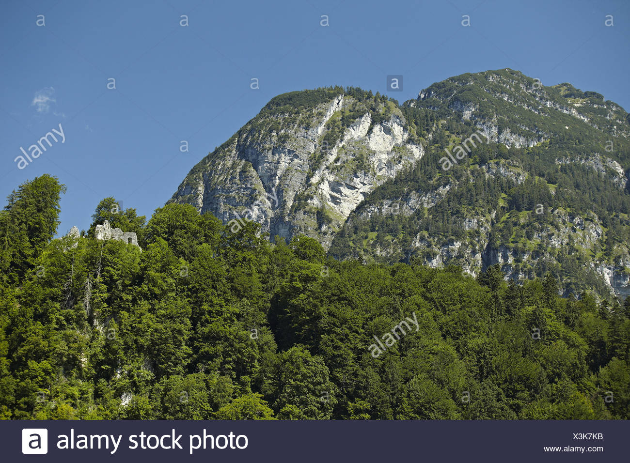 Germany, Bavaria, Werdenfelser Land (region), Garmisch-Partenkirchen, Burgrain, castle ruin Werdenfels, summer, - Stock Image