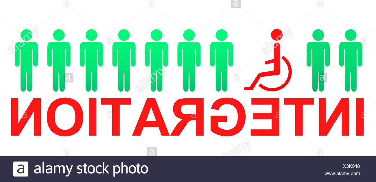 wheelchair handicapped integration - Stock Image