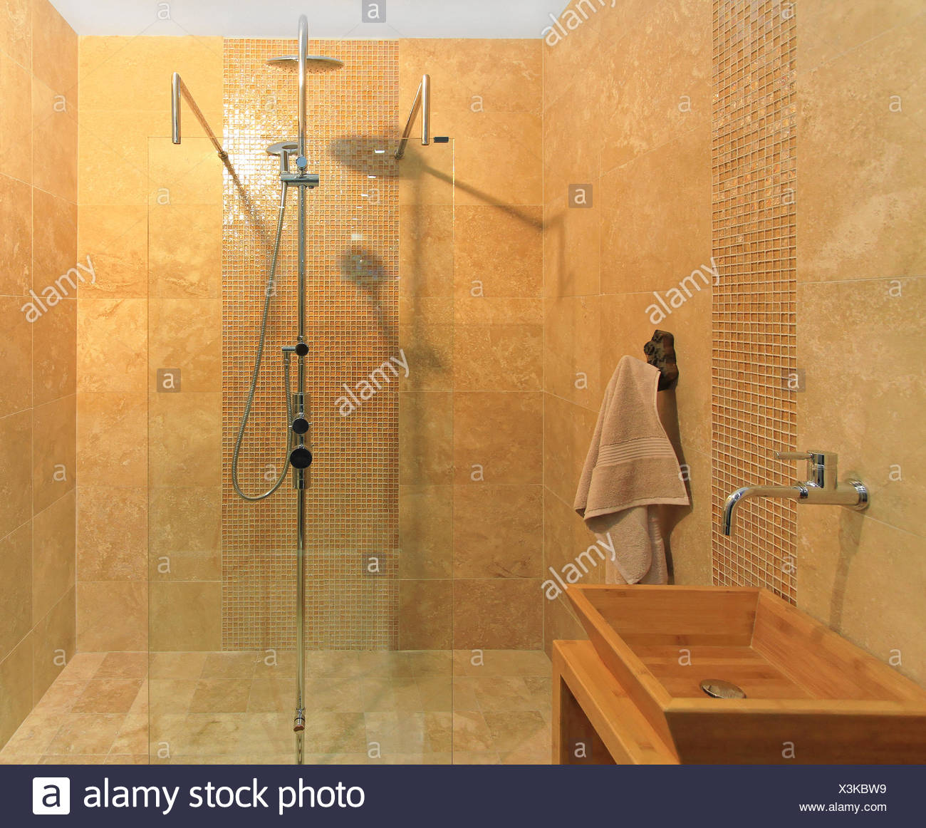 Contemporary Bathroom With Marble Tiles Shower Stock Photo Alamy