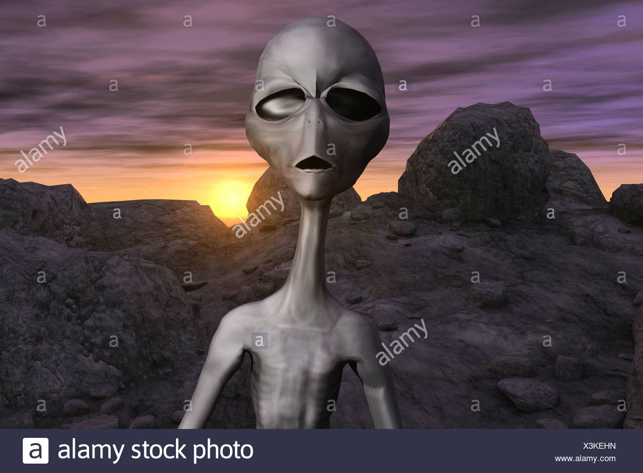 Computer Generated Image Of An Alien - Stock Image