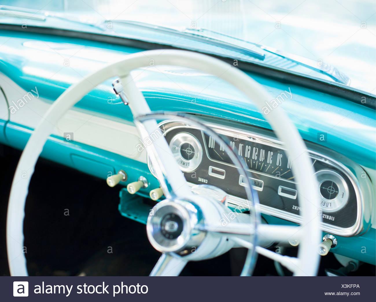 Steering wheel of classic American car - Stock Image