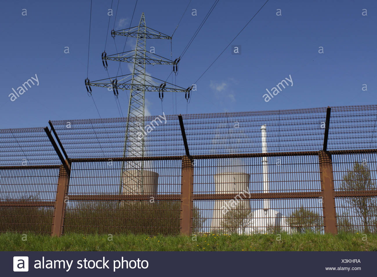 power station fence fence in fencing nuclear power station atomic energy - Stock Image