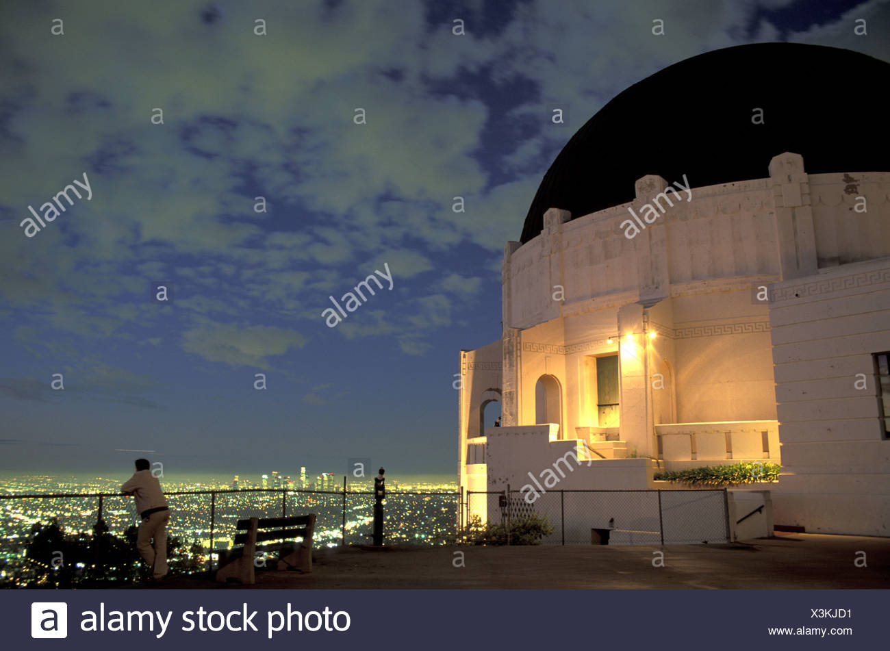 California Griffith Observatory Los Angeles USA America United States North America night - Stock Image