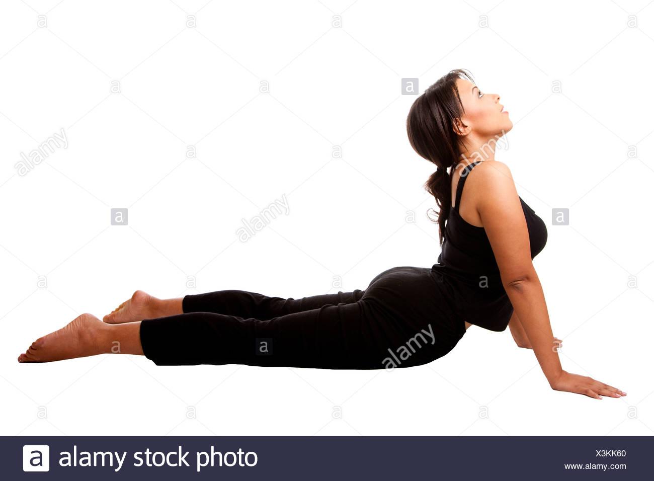 Cobra position Yoga Excercise - Stock Image