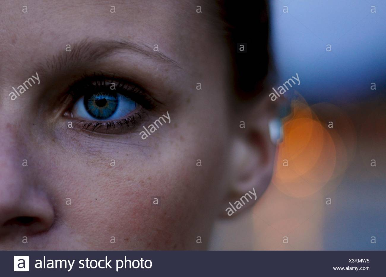 Close-up of a woman's face - Stock Image