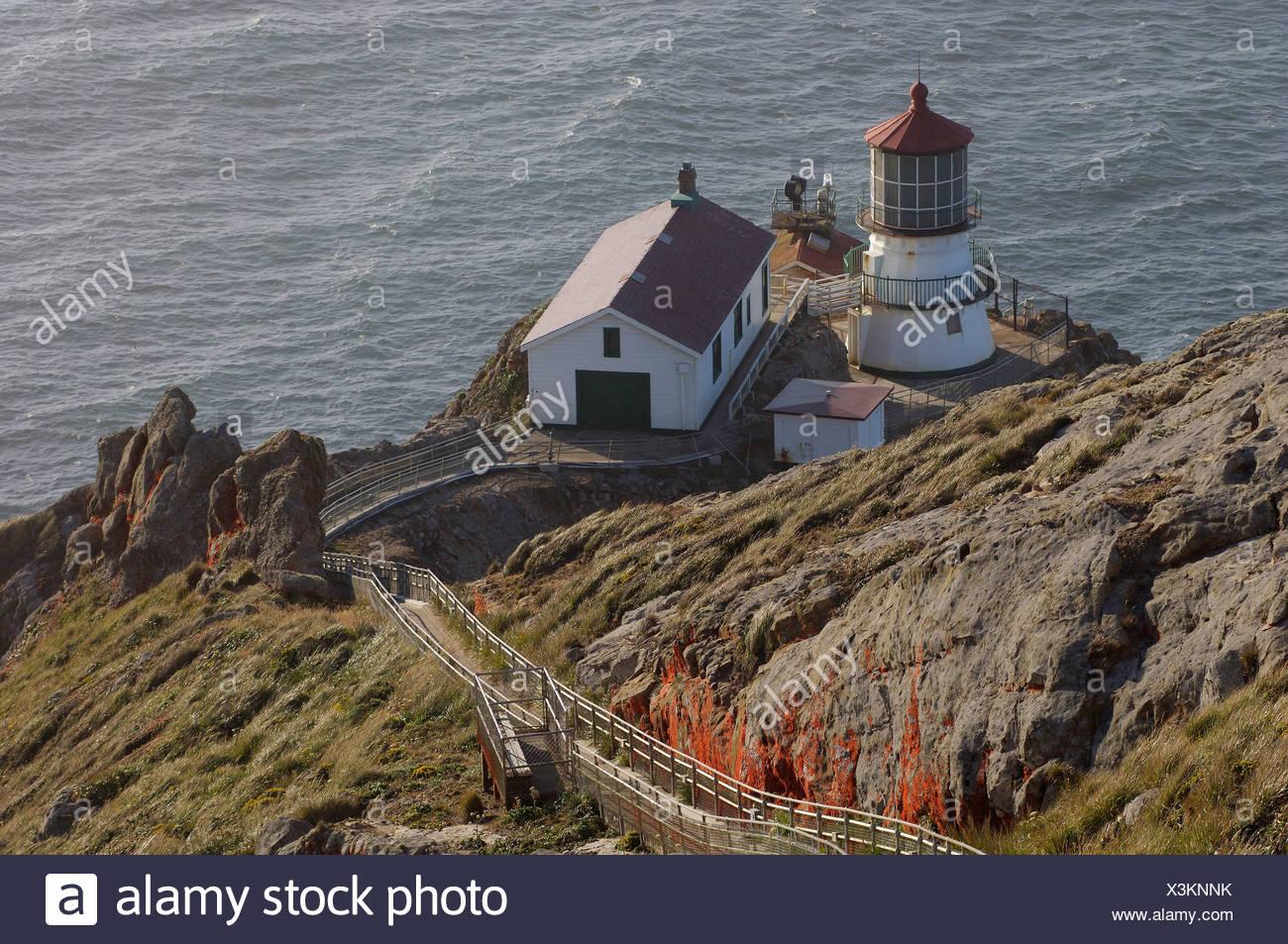 Usa Point Reyes Station California Lighthouse At Point Reyes National Seashore Near Point Reyes Station Coast Sea Ocean United - Stock Image