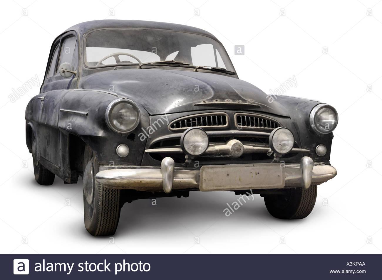 Old black Skoda 440 1956-1958 Spartak, Czech retro car, covered in dust - Stock Image