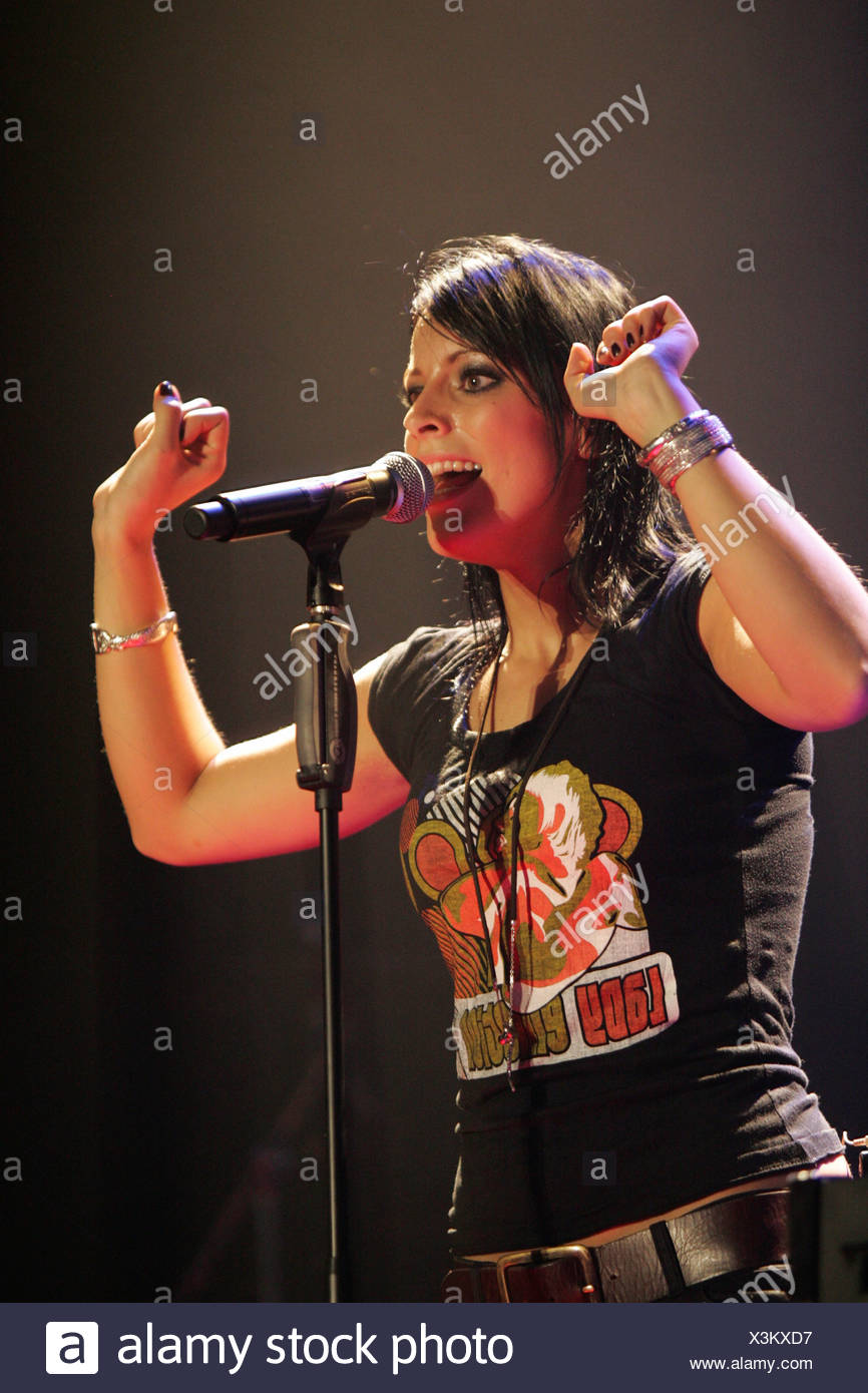 Stefanie Kloss, singer and frontwoman of the German pop/rock band Silbermond, performing live at Energy Stars For Free at Halle - Stock Image