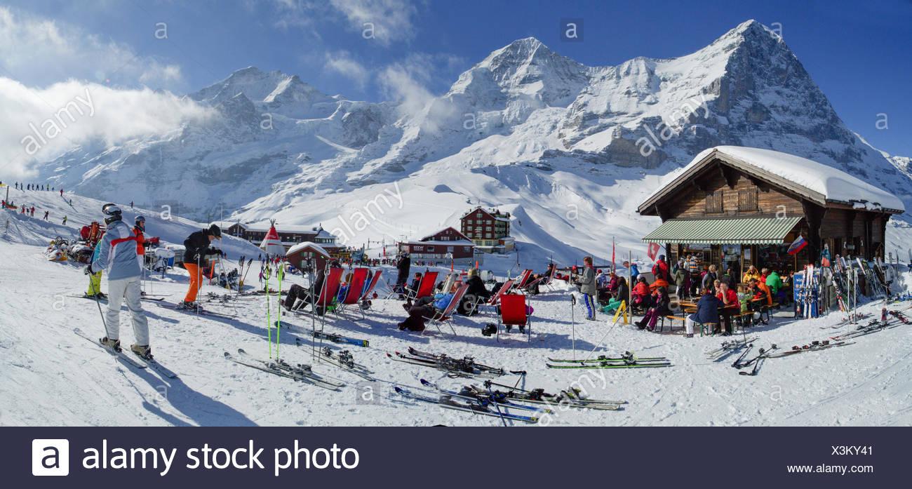 Ski, ski tourist, Kleine Scheidegg, Eiger, monk, Mönch, Jungfrau, mountain, mountains, ski, skiing, Carving, winter, winter spor - Stock Image