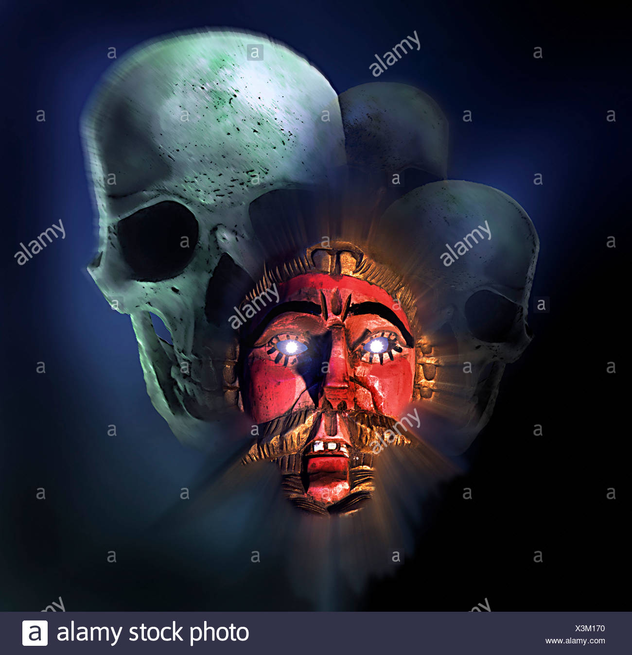 Mask from Guatemala (representing white conquerer) with skulls, symbolic photo for colonialism - Stock Image