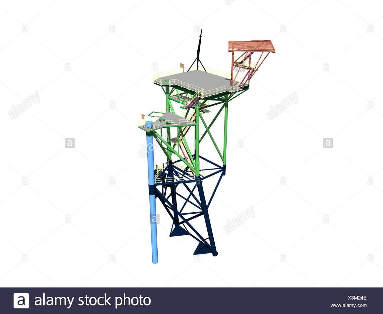 scaffolding a borinsel in the sea Stock Photo