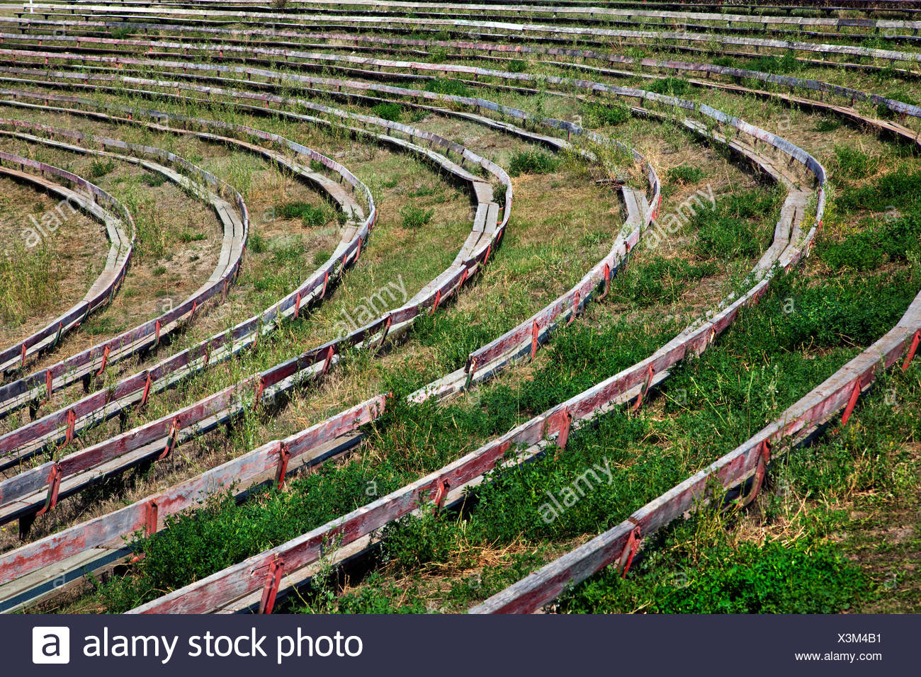 Seats in rodeo ground, Alberta, Canada - Stock Image