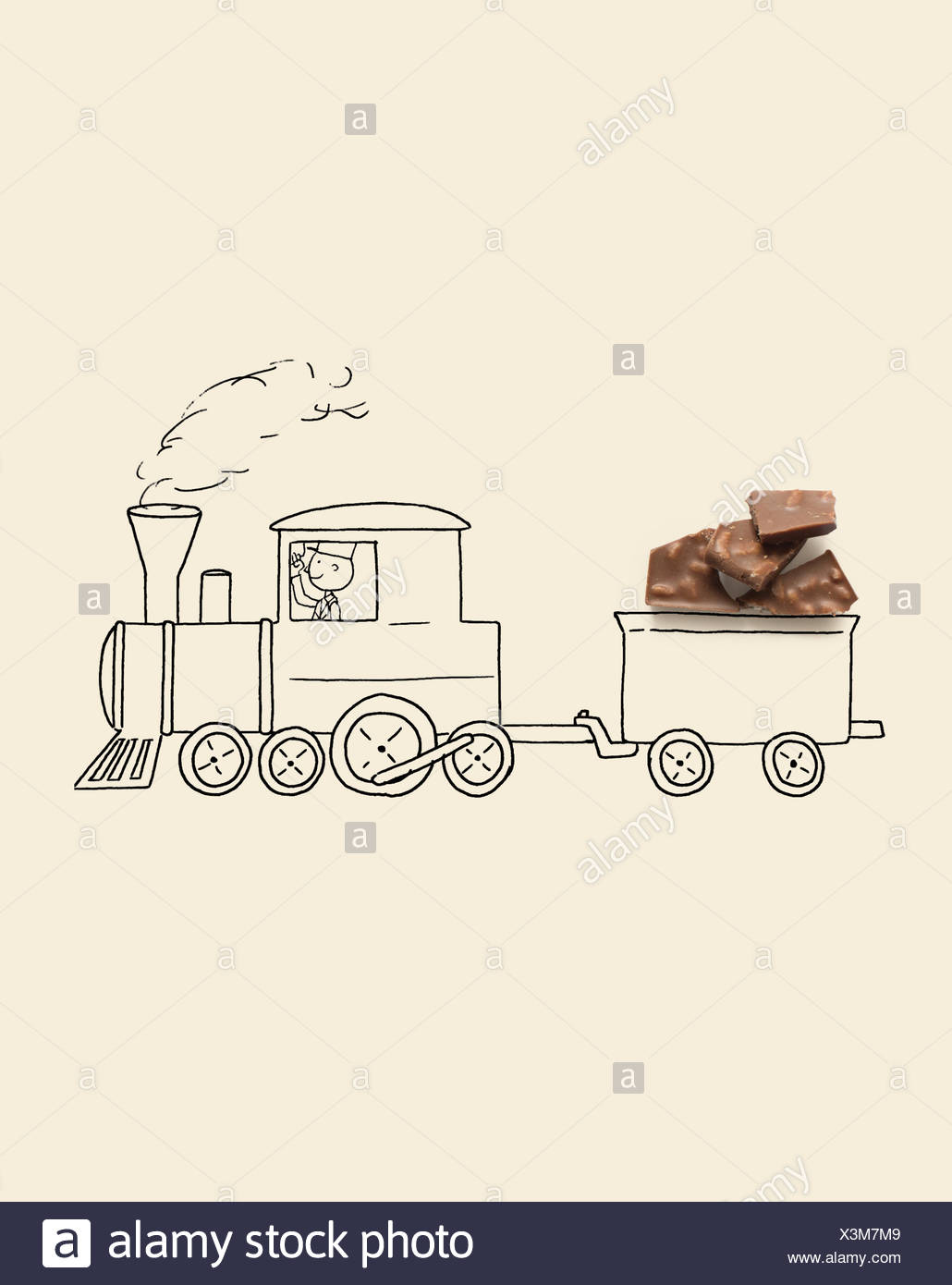Conceptual freight train with goods wagon - Stock Image